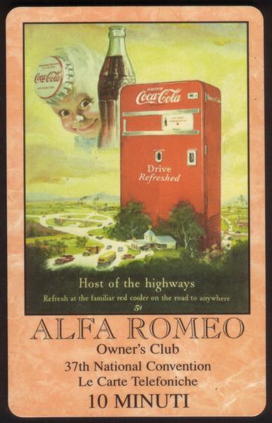 10m World of Coke: Alfa Romeo Owner's Club Convention 'SAMPLE' Phone Card