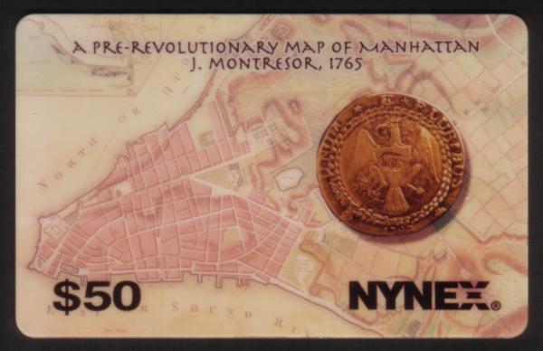 $50. Brasher Doubloon Rare Coin. Pre Revolutionary War Map: Manhattan Phone Card