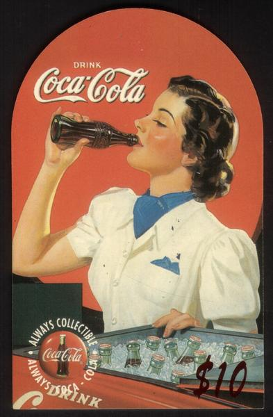 Coca-Cola '95 $10. Top-Rounded Die-Cut: Woman Drinking Coke Bottle Phone Card