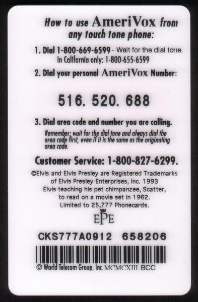 Phone Cards For Collectors - Collectible Phone Cards - Elvis2, King