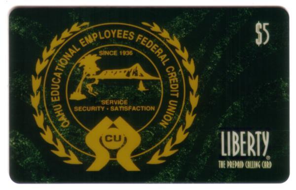 $5. Oahu Educational Employees Federal Credit Union Hawaii. SPECIMEN Phone Card
